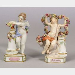 Two Meissen Porcelain Motto Cherub Figures