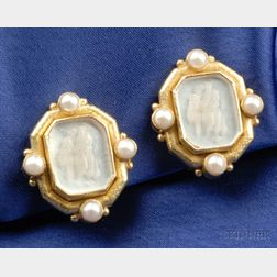 18kt Gold, Glass Intaglio and Cultured Pearl Earclips, Elizabeth Locke