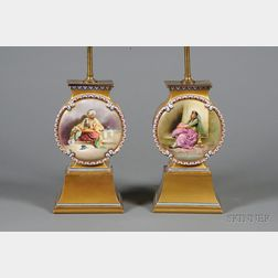 Pair of Handpainted French Porcelain Moorish Vase Lampbases