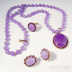 14kt Gold and Lavender Jade Suite