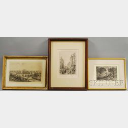 Three Etchings:      After Jean-Baptiste-Camille Corot (French, 1796-1875), Souvenir De Toscane