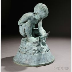 Bashka Paeff (Russian/American, 1893-1979)       Bronze Figure of a Boy and Bird