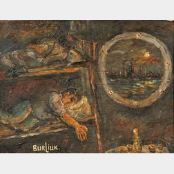 David Burliuk (American/Ukrainian, 1882-1967)      While the City Sleeps