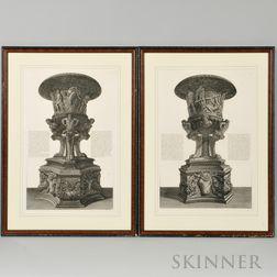Giovanni Battista Piranesi (Italian, 1720-1778) Two Engravings of Antique Vases: Veduta di Prospetto di un Vaso antico di Marmo con suo