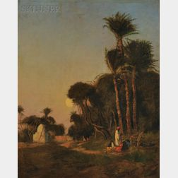 Edwin Lord Weeks (American, 1849-1903)      Sundown at the Oasis