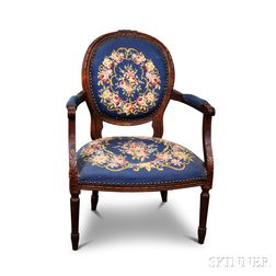 Louis XVI-style Carved Beech Fauteuil