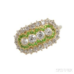 Edwardian Diamond and Demantoid Garnet Ring