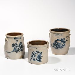 Three Cobalt-decorated Stoneware Jars/Crocks