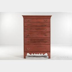 Red-painted Maple Tall Chest of Drawers