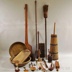 Twenty-one Mostly Wood Domestic Items