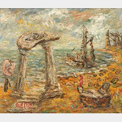 David Burliuk (American/Ukrainian, 1882-1967)      The Harbor