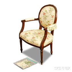 Louis XVI-style Carved and Upholstered Fruitwood Fauteuil