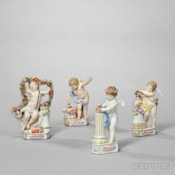 Four Meissen Porcelain Motto Figures