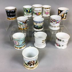 Twelve Floral- and Bird-decorated Porcelain Shaving Mugs