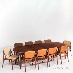 Arne Vodder for Vamo Mobelfabrik Teak Dining Table and Ten Chairs