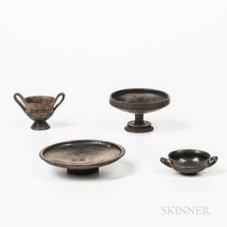 Four Attic Black-glazed Redware Pieces