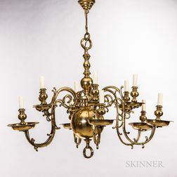 Large Dutch-style Twelve-light Brass Chandelier