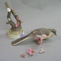 Royal Worcester/J. Doughty Hand-painted Porcelain Mocking-Bird Figural Group, (damage).