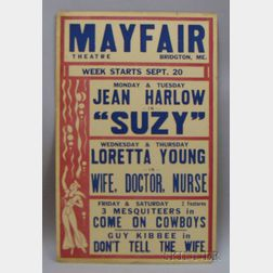 Jean Harlow/Mayfair Theatre Window Card Poster