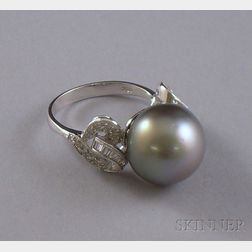 18kt White Gold, Tahitian Pearl, and Diamond Ring