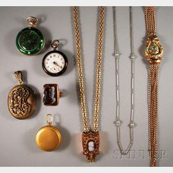 Small Group of Antique Jewelry and Pocket Watches