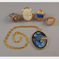 Five Gold and Opal Jewelry Items
