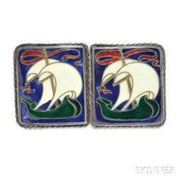 Arts & Crafts Silver and Enamel Buckle, Frank Gardner Hale