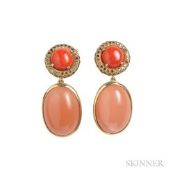 18kt Gold, Coral, and Orange Moonstone Earclips, Donna Vock