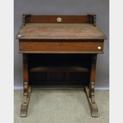 Victorian Eastlake-type Carved Walnut Student/Legislator's Lift-top Desk