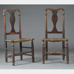 Pair of Turned Maple and Ash Yoke-back Side Chairs
