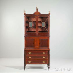 Glazed Inlaid Mahogany Desk/Bookcase