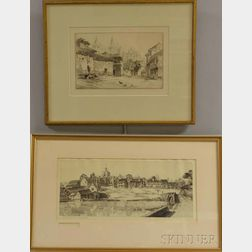 John Taylor Arms (American, 1887-1953)      Two Framed Etchings:   Léon
