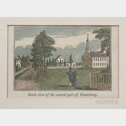 Small Wood Engraving South view of the central part of Canterbury