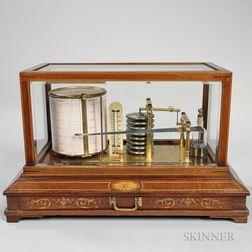 Mahogany Inlaid and Beveled Glass Cased Barograph