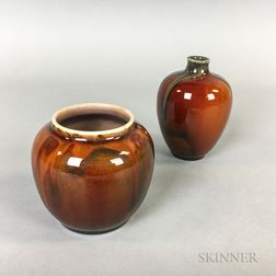 Two Small Rookwood Pottery Glaze Effect Vases