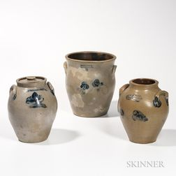 Three Cobalt Floral-decorated Stoneware Jars