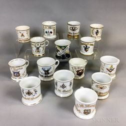 Fifteen Fraternal Porcelain Shaving Mugs