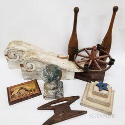 Nine Decorative Painted Wood Items