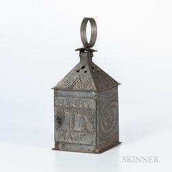 "Tin Lantern with Punched Decoration ""Harry Mayne,"""