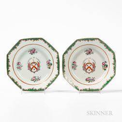Pair of Octagonal Export Porcelain Soup Plates