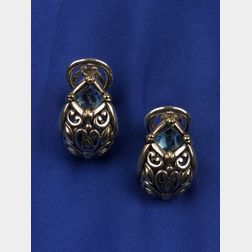 18kt Gold, Silver, and Blue Topaz Earrings