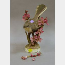 Royal Worcester/J. Doughty Hand-painted Porcelain Mocking-bird Figural Group.