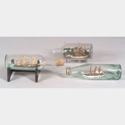 Group of Three Ships in Bottles