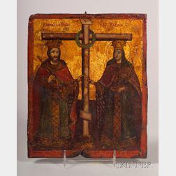 Greek Icon of Two Saints Standing Before a Crucifix