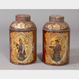 Pair of Painted and Chinoiserie Gilt Decorated Tin Retail Covered Tea Canisters