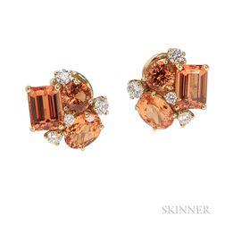 18kt Gold, Mandarin Garnet, and Diamond Earclips, Donna Vock