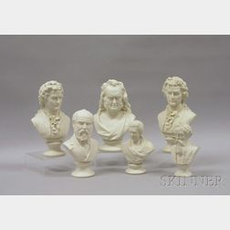 Six Parian Historical and Character Busts