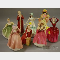 Eight Royal Doulton Porcelain Figures of Ladies