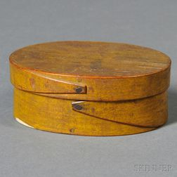 Small Oval Yellow-painted Lapped-seam Covered Box