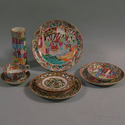 Nine Chinese Export Porcelain Table Items